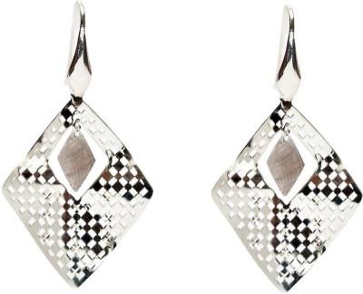 LeCalla Rhombus Geometric Rhodium Plated Silver Sterling Silver Dangle Earring