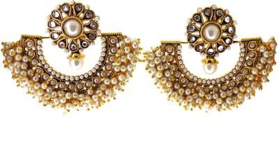 Aabhushan Pearl, Onyx, Crystal Alloy Chandbali Earring