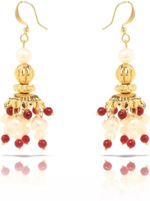 Oviya Red Pearl Brass, Alloy Jhumki Earring