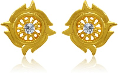 Mahi White Floral Fire Cubic Zirconia Alloy, Brass Stud Earring