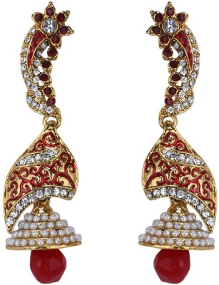 Sale Funda Desgner er22 Pearl, Crystal, Ruby Alloy Jhumki Earring