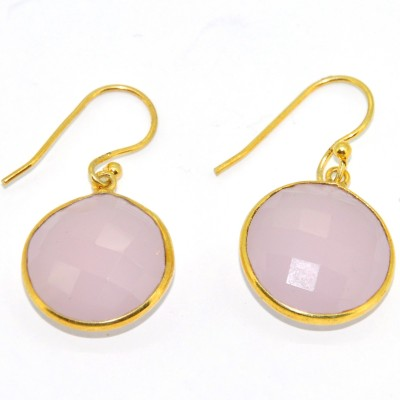 Casa De Plata Round Pink Rose Chalcedony Brass Earring Chalcedony Brass Dangle Earring