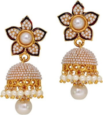 Jaipur Mart Latest Flower Shape White Pearl Alloy Jhumki Earring
