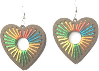 Chooz Designer Studio Wooden Heart Shape Alloy Dangle Earring