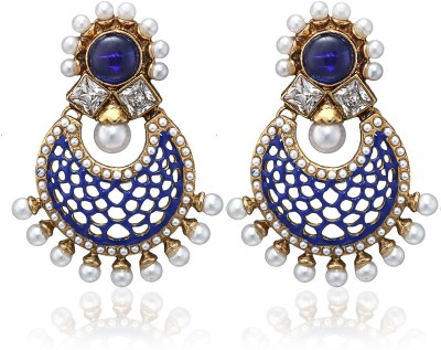Arum Blue and White Alloy Chandelier Alloy Drop Earring