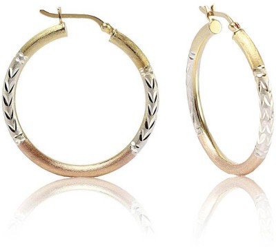 LeCalla Three Tone Diamond Cut Sterling Silver Hoop Earring
