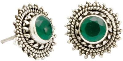 YugshaJewels Elegant YJE-1350 Emerald Sterling Silver Stud Earring