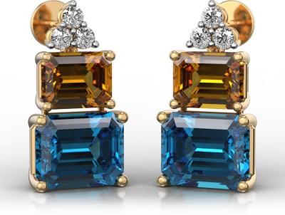 I Love Diamonds Mystery of the Mayan Pyramid Earrings Diamond, Topaz, Citrine Yellow Gold Stud Earring