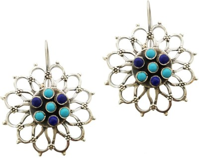 Mehrunnisa Kashmiri 92.5 Sterling Silver Oxidised Flower With Lapis Lazuli And Turquoise For Girls Metal Dangle Earring