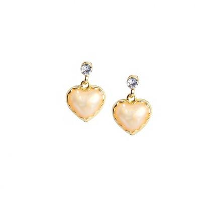Bezel ME - 41 Golden White Alloy Drop Earring