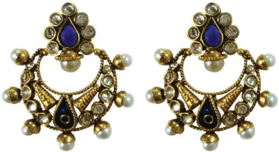 Deco Junction Ethnic Blue Chandbali Alloy Chandbali Earring