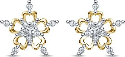 Kirati Fancy Heart Flower Cubic Zirconia Sterling Silver Stud Earring