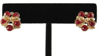 Crimson21 Floral Zircon Alloy Stud Earring