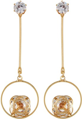 Navya Collections Delighted Studded Stone Copper Colored Alloy Drop Earring