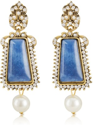 Colors of Sin Big blue rectangle dome with hanging pearl Alloy Dangle Earring, Drop Earring