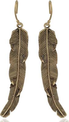 ZeroKaata Textured Long Leaf Brass Dangle Earring