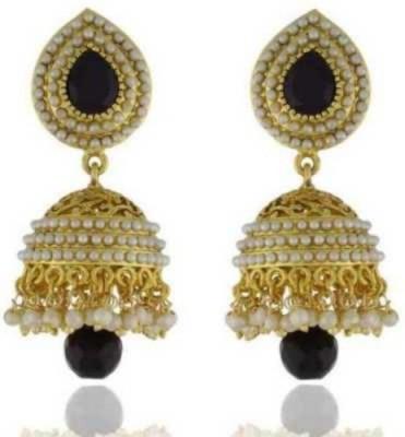 Happyshoppi Casual Pearl Brass, Copper Jhumki Earring