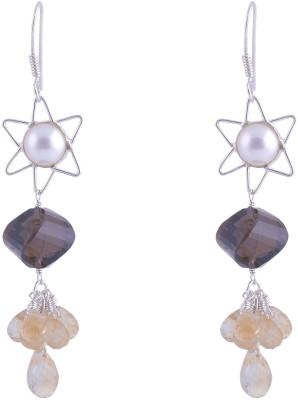 Jewel Paradise Citrine, Onyx, Pearl Sterling Silver Dangle Earring