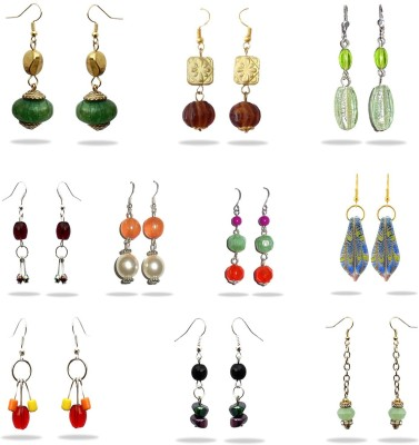 Beadworks Combo Earrings Crystal Acrylic, Alloy, Bone, Brass, Ceramic, Glass, Lac, Metal, Resin, Shell, Stone, Wood Earring Set at flipkart