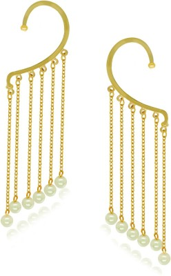 Spargz Cuff With Dangling Pearl Brass Cuff Earring