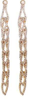 GemRoute Long Sparkling Golden Zircon Alloy Drop Earring