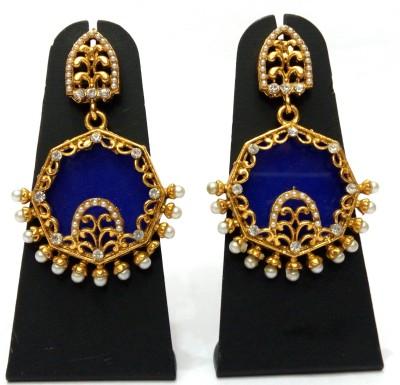 Womaniya Blue Screen Alloy Chandelier Earring