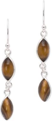 Watch Me Twin Drops Danglers- Olive Sterling Silver Dangle Earring