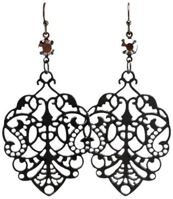Kundaan Kundaan Vintage Black Crystal Alloy Dangle Earring