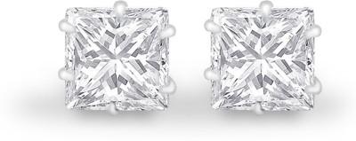 925 Silver 5mm White Princess Cut CZ Cubic Zirconia Silver Stud Earring