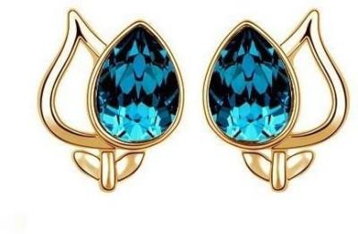 Roma Brothers Lotus Blue Swk1 Swarovski Crystal Alloy Stud Earring