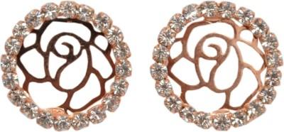 Royal Sterling Golden Earrings Swarovski Crystal Alloy Stud Earring