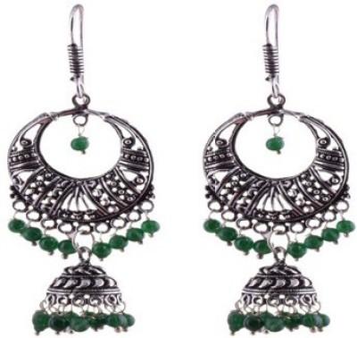 Kalaplanet German Silver Bali With Jhumka Metal Dangle Earring