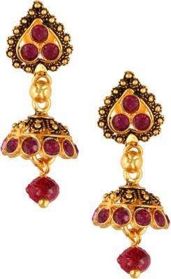 Fashionaya Pink Jhumki Crystal Brass Jhumki Earring