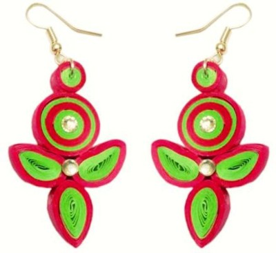 Vaishali's Quilling Jewellery Pink and Green Combination Paper Dangle Earring