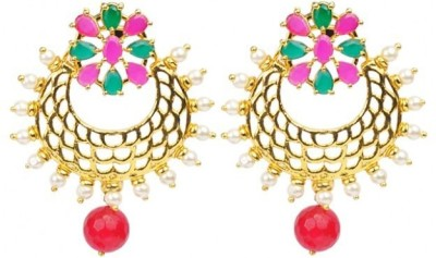 Jillcart Chandbali Earring with Multi Color Stone and Pearls-Gold Plated Ruby, Pearl Copper Chandbali Earring