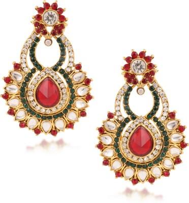 Fashionaya Red Snob Cubic Zirconia Alloy Drop Earring
