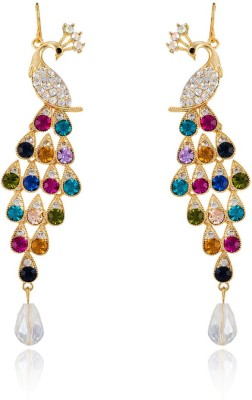 Colors of Sin Multicolor crystal peacock with CZ and hanging pearl Alloy Dangle Earring, Drop Earring