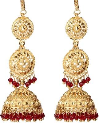 Giftmania Royal Reds Pearl Brass Jhumki Earring