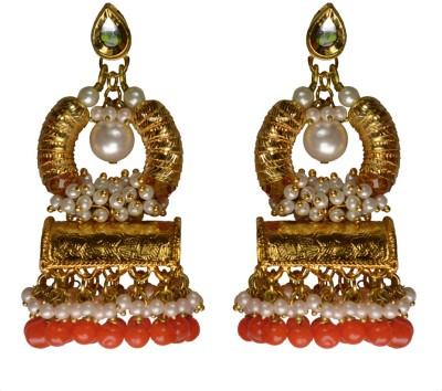 Rasaam Basket Dull Orange Beads Alloy Chandbali Earring