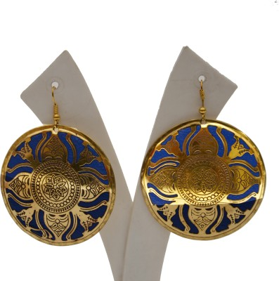 Galz4ever Iron Sheet Round Print Stamping Earrings Metal Drop Earring