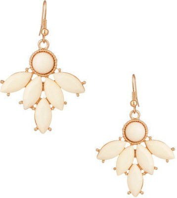 Fabula Gold & White Crystal Jewellery for Women, Girls & Ladies Metal Dangle Earring