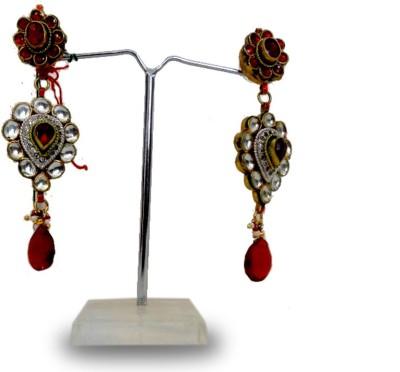 W Stop Kundan Crystal Brass Drop Earring