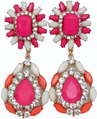 WoW Red, Pink, White And Crystal Alloy Drop Earring