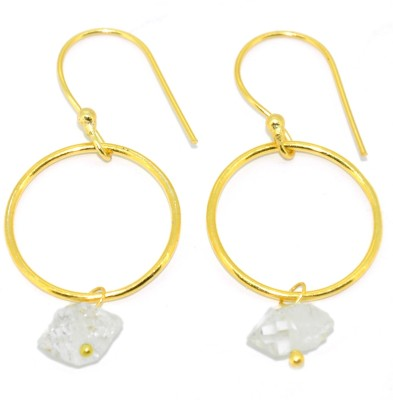 Casa De Plata Uneven White Herkimar Brass Earring Brass Dangle Earring