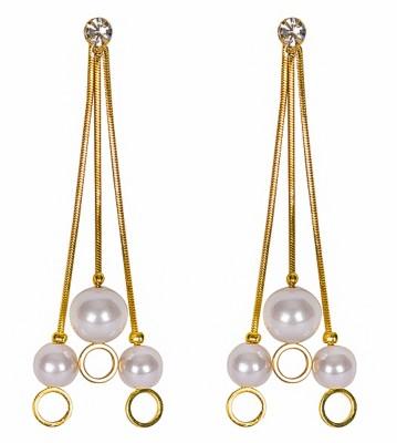 Adrisya Pearl & Chain Alloy Drop Earring