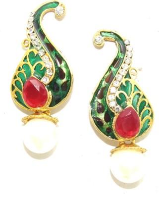 Aarnaa Maroon Green Alloy Drop Earring