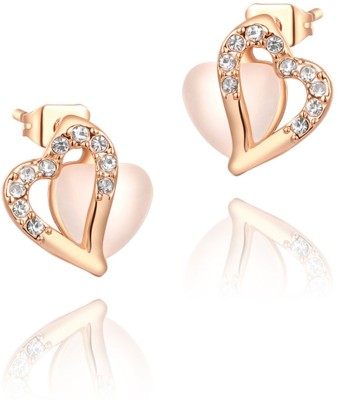 Kaizer Jewelry Cubic Zirconia Alloy, Rose Gold Stud Earring