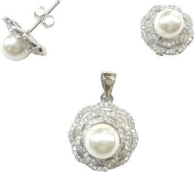 Vummidi Bangaru Chetty & Sons Sparkling Pearl Sterling Silver Earring Set