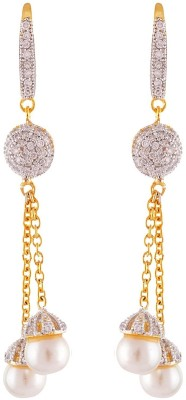 Enzy American Diamond Double Pearl Drop Alloy Dangle Earring