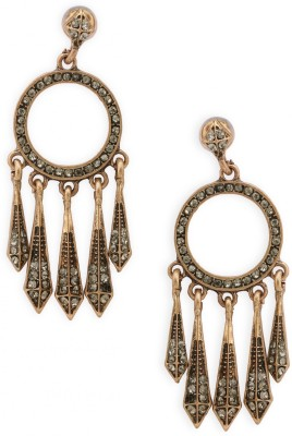 Fabula Gold & White Crystal Jewellery for Women & Girls Metal Drop Earring